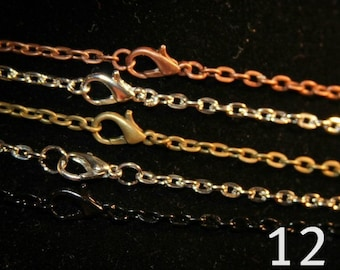 12 -  Necklace 24 inch rolo chain finished with lobster clasp - For Pendant Jewelry and Scrabble tile making