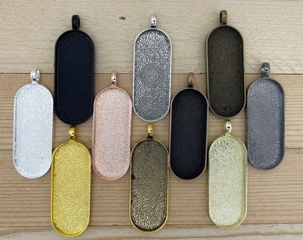 6 Large Oval Deep blank pendant setting Large 45 mm x 18 mm for Acrylic pour, Resin, necklaces, mosaic glass 3 mm deep vertical