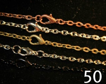 50 or 100 Wholesale Necklaces - 24 inch Rolo Chain Multi Colors  (3 mm wide) GREAT Quality - For Jewelry Making