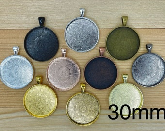 10 Round 30 mm Blank Pendant Trays mix and match your colors Antique bronze , copper, etc..Bezels Settings LEAD FREE (1.18 inch)