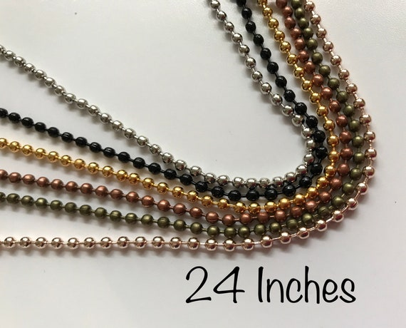 2.4mm Ball Chain Necklaces 5 10 20 50 24 Inch Craft Shiny Silver Color
