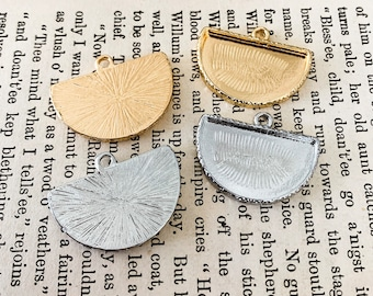 Half circle Bezels for earrings , bracelets , Photos, mixed media Pendant Trays fan shape - customizable blank  - Lead and Nickel Free
