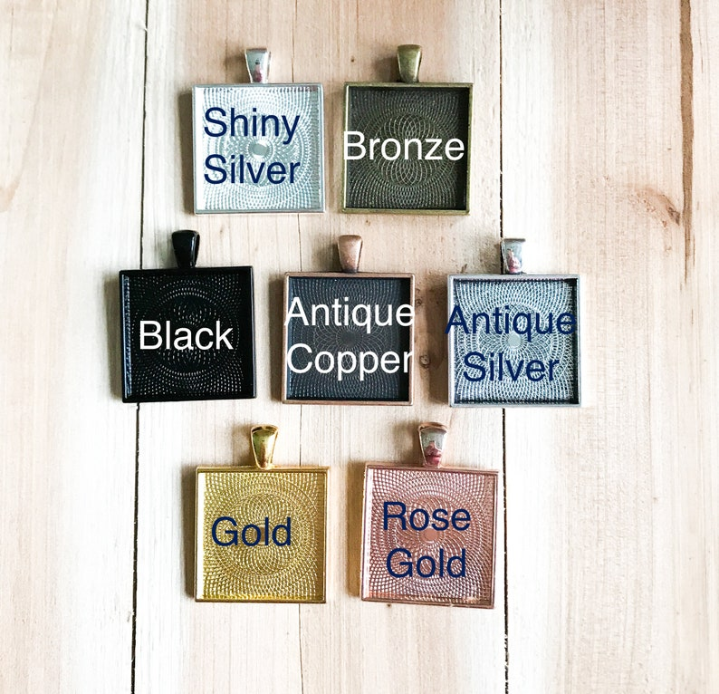 Lead /& Nickel Free 1 inch Square Pendant Base for Jewelry Making or use with Resin for photos or Altered Art Rose Gold