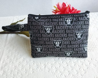 Raiders with a Solid Black Interior Rosary  Coin Fabric Purse with Metal Snap Closure