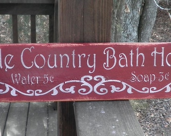Bathrooom decor, country home decor, wood signs, Bath sign, home decor, primitive home decor, wood sign, country decor, sign