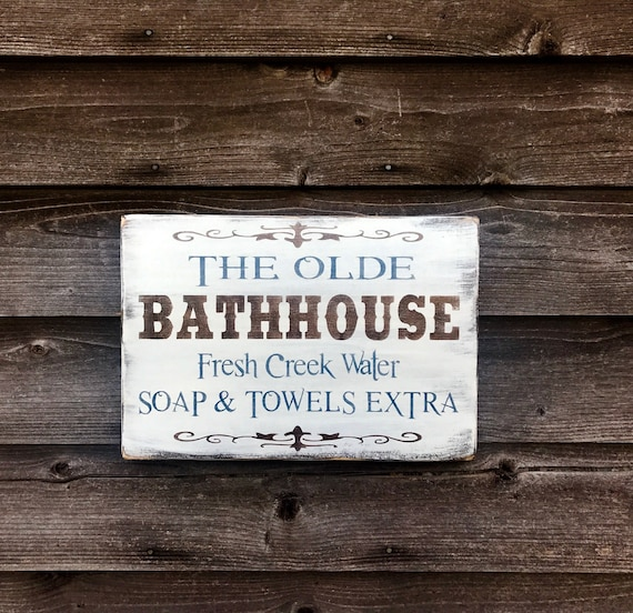 Bathroom Decor Wood Signs Bathroom Signs Primitive Rustic Etsy