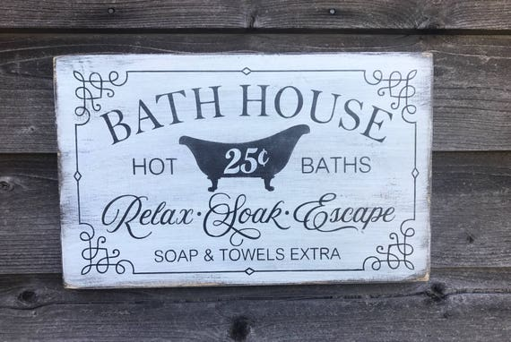 Bathroom Decor Wood Signs Bathroom Signs Primitive Rustic Bathroom Signs Farmhouse Decor Farmhouse Bathroom Signs Hand Painted Signs