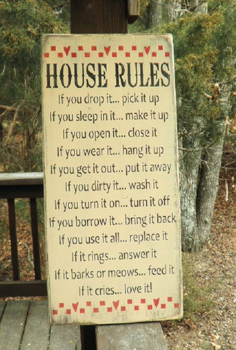 House rules, funny house rules  handpainted wood sign, Primitive home  decor, rustic home decor, distressed sign, farmhouse decor, sign