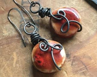 Rustic Red Earrings, Earthy Artisan Earrings, Organic Red Earrings, Boho Earrings, Wear Red Earrings