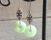 Jadeite Earrings, recycled Jadeite pitcher, Reclaimed Glass, Jadeite Glass Lovers Gift, Lampwork SRA, Recycled Glass