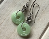 Fire King Jadeite Earrings, recycled Jadeite pitcher, Reclaimed Glass, Jadeite Glass Lovers Gift, Lampwork SRA, Recycled Glass