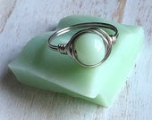 Fire King Jadeite Wire Wrapped Ring, custom size, Jadeite Glass Ring, Recycled Glass, Vintage Glass, Gift for Her