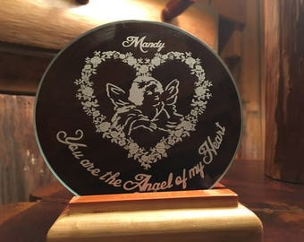 Custom laser engraved beveled mirror