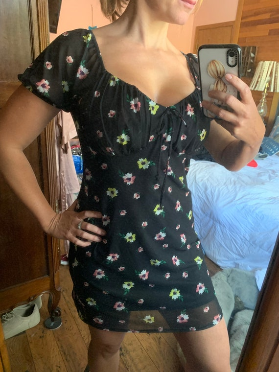 Black and floral milkmaid style dress