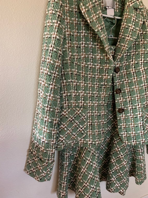 Tweed trumpet skirt and jacket set
