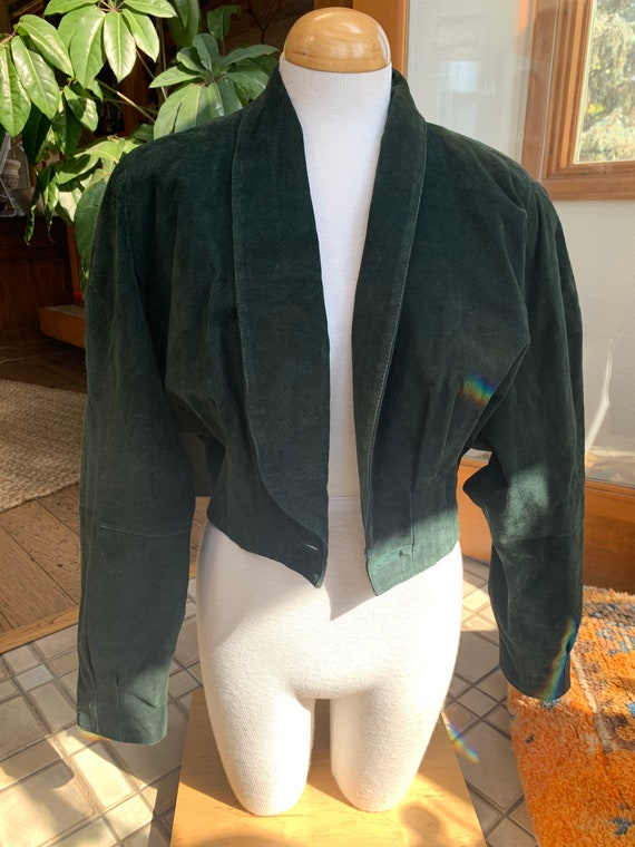 Dark forest green leather cropped jacket