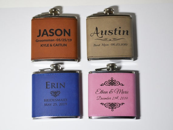 Leather Flask Custom Groomsmen Wedding Party Gift For Men Etsy