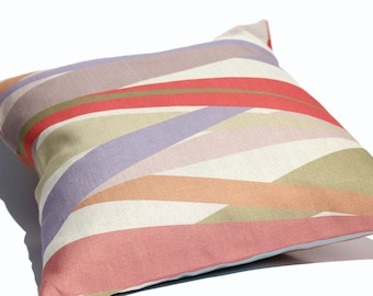 square CUSHION COVER with eco friendly striped print in Belgian linen cotton