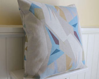 square CUSHION COVER with eco friendly abstract original print on Belgian linen cotton