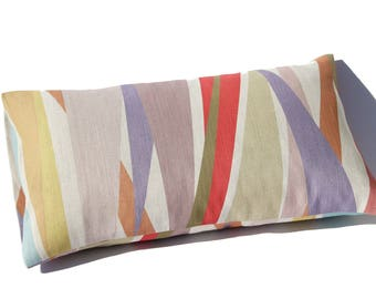 rectangular striped CUSHION COVER with eco friendly print on Belgian linen cotton