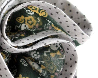 hand stitched silk voile skull print POCKET CIRCLE with contrast polka dot binding