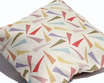 square CUSHION COVER with eco friendly abstract print in Belgian linen cotton