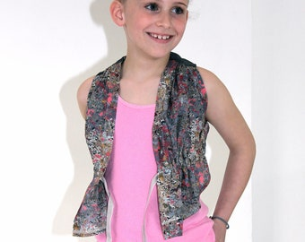 little girls freddie vest SEWING PATTERN with gathered front ties and fitted shaped back