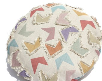 round CUSHION COVER with abstract print and fringed applique patches in Belgian linen cotton