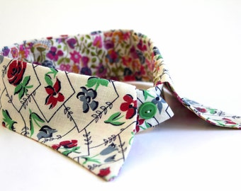 cute detachable fabric COLLAR made from vintage feed sack fabric