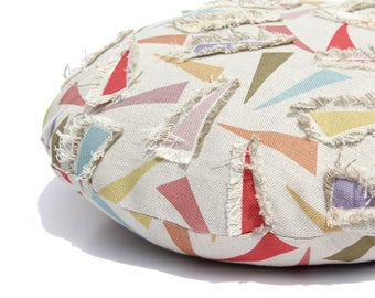 round CUSHION COVER with eco friendly abstract print and applique patches in Belgian linen cotton