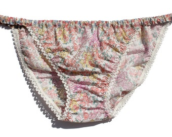 Ladies Liberty print cotton KNICKERS with pretty elastic trim in size 10