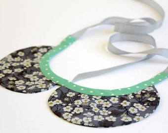 liberty print peter pan style fabric COLLAR with polka dot binding and ribbon ties