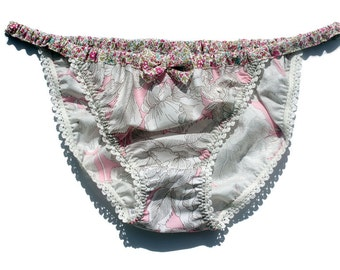 Ladies Liberty print cotton KNICKERS with contrast waist and pretty elastic trim, Australian size 10