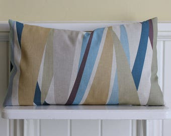 rectangular CUSHION COVER with eco friendly striped print on Belgian linen cotton