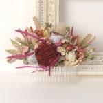 Dried flower wedding comb, Bridal Australian wildflower headpiece, Eucalyptus leaf floral hair piece, Gum nut headpiece, Free shipping