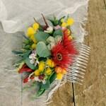 Wildflower hair comb, Australian wedding comb, Bridal head piece flower hair piece, Bride bridesmaid headpiece with rustic native flowers