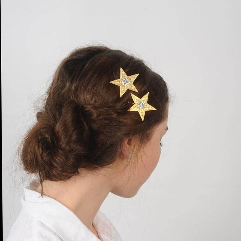 Star hair pins Celestial rhinestone hair pins Wedding hair image 0
