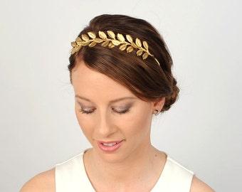 Gold goddess crown, Metallic gold headband, Gold leaf headpiece, Wedding bridal hair piece, Laurel leaf tiara, Hair accessory, Gold hairband