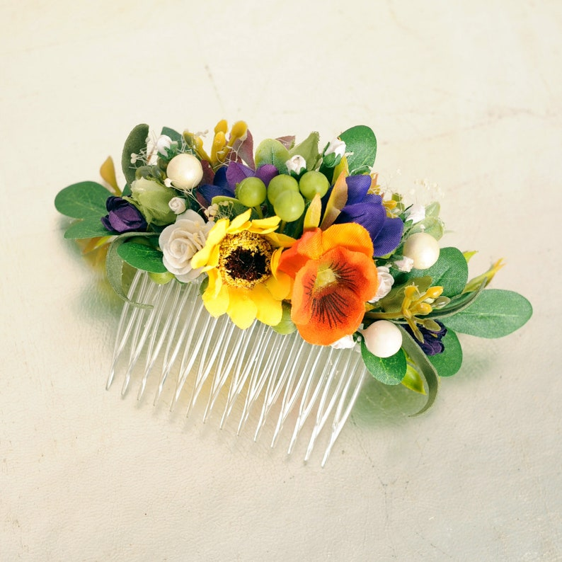 Bridal flower comb Wildflower headpiece Floral country wedding hair piece Rustic wedding yellow sunflower hair comb
