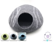 40cm, 50cm Wool Felt Stripe Design Cat Bed Felted Cat Bed Felt Cat Cave Fair Trade 100 Wool and Handmade FREE SHIPPING