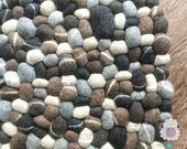 Wool Felt Neutral Color Stone Pebble Rug Round, Rectangular Carpet For Room Decor and Starts From 40cm Size: Fair Trade and Handmade