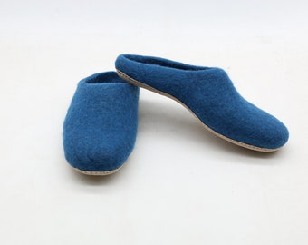 75db594c656ed4 Felt slipper - felted slipper - wool slipper - handmade slipper - warm felted  slipper - felt shoes - felt wool slippers (Blue)-free shipping