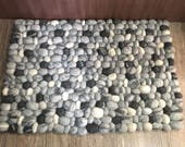 Felt ball rug, Felt stone rugs, Stone rugs, Pebble rugs, handmade felt rugs, Nepali Handicrafts, free delivery,Natural color rug