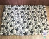 40 x 60cm Wool Felt Pebble Rug | Living Room Felt Rectangular Rugs | Felt Stone Rugs | Fair Trade | 100% Wool and Handmade  | FREE SHIPPING