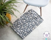 Wool felted Pebble Rug with Natural color Handmade felt Stones- good for Living room & Bathroom Decor, starts with 40x60cm size- Fair Trade