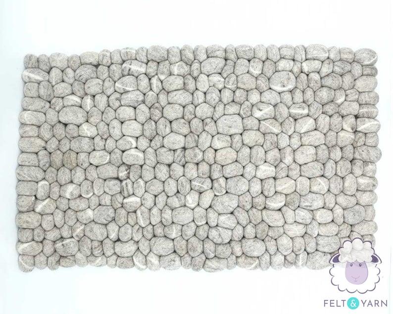 Fair Trade Living Room Rectangular Rugs 40 x 60cm Wool Felt Pebble Rug 100/% Wool and Handmade FREE SHIPPING Felt Stone Rugs