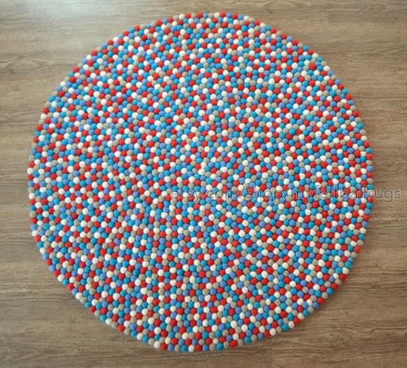 teppich kinder rund, leuchtend rot filz kugel teppich kinderzimmer teppich kinder | etsy, Design ideen