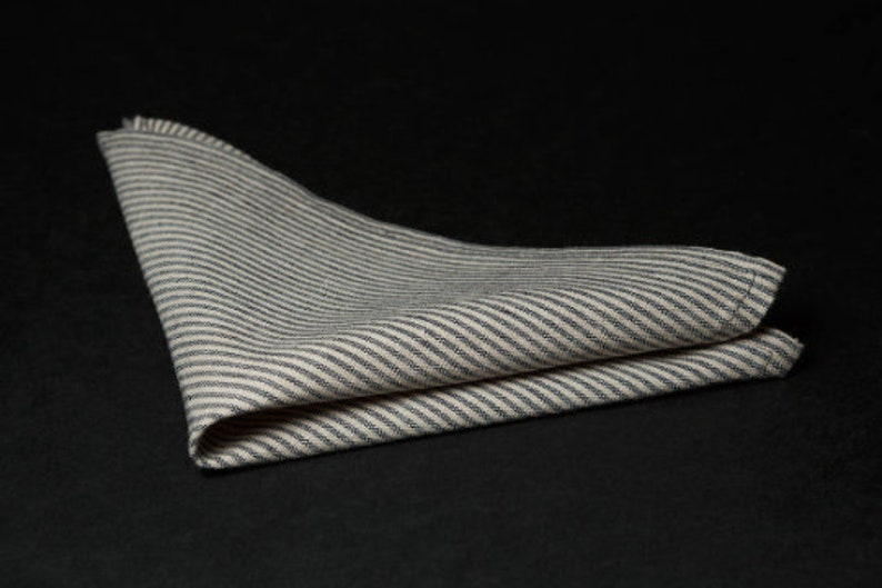 Summer accessory Beige grey pocket square Linen hankie