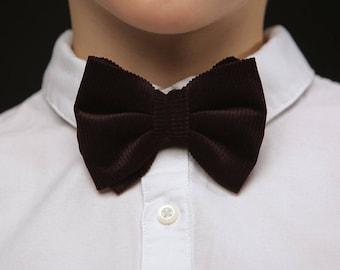 Boys corduroy bow tie, dark corduroy kids bow tie