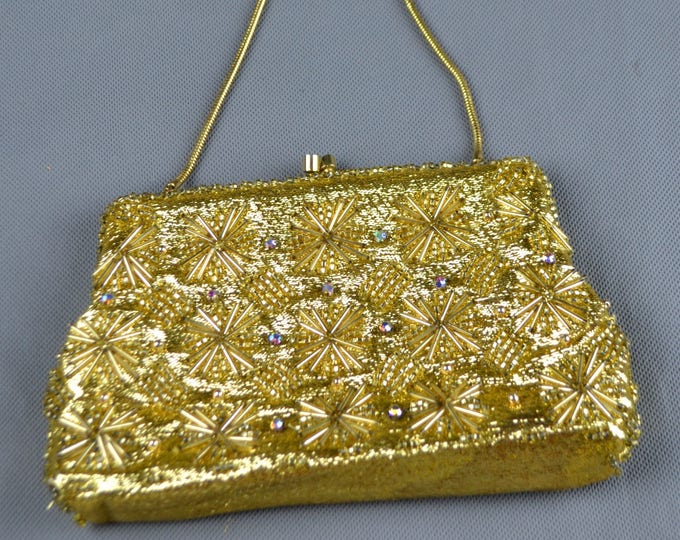 Beautiful Vintage 50's Metallic Lame  Gold,  Beaded and Jewelled Aurora Borealis Crystals Convertible Cocktail Purse Evening Bag